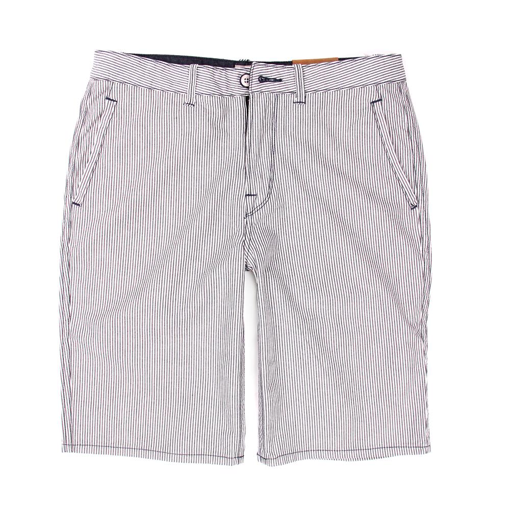 Timberland 男款灰藍色直筒條紋休閒短褲