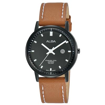 ALBA 雅柏 簡單生活皮帶女錶(AH 7 P 77 X 1 )-黑x咖啡/ 30 mm