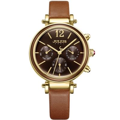 JULIUS聚利時 LADY FIRST三眼設計皮錶帶腕錶-咖啡/34mm