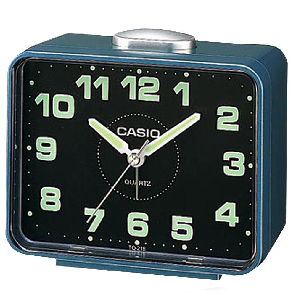 CASIO 夜間指針桌上方型簡約鬧鐘(TQ-218-2D)-藍X黑面