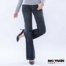 BIG TRAIN-女款 低腰鳳凰繡花寬褲-中藍