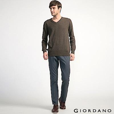 GIORDANO 男裝素色彈力棉四層腰頭休閒褲 -  08 標誌灰色