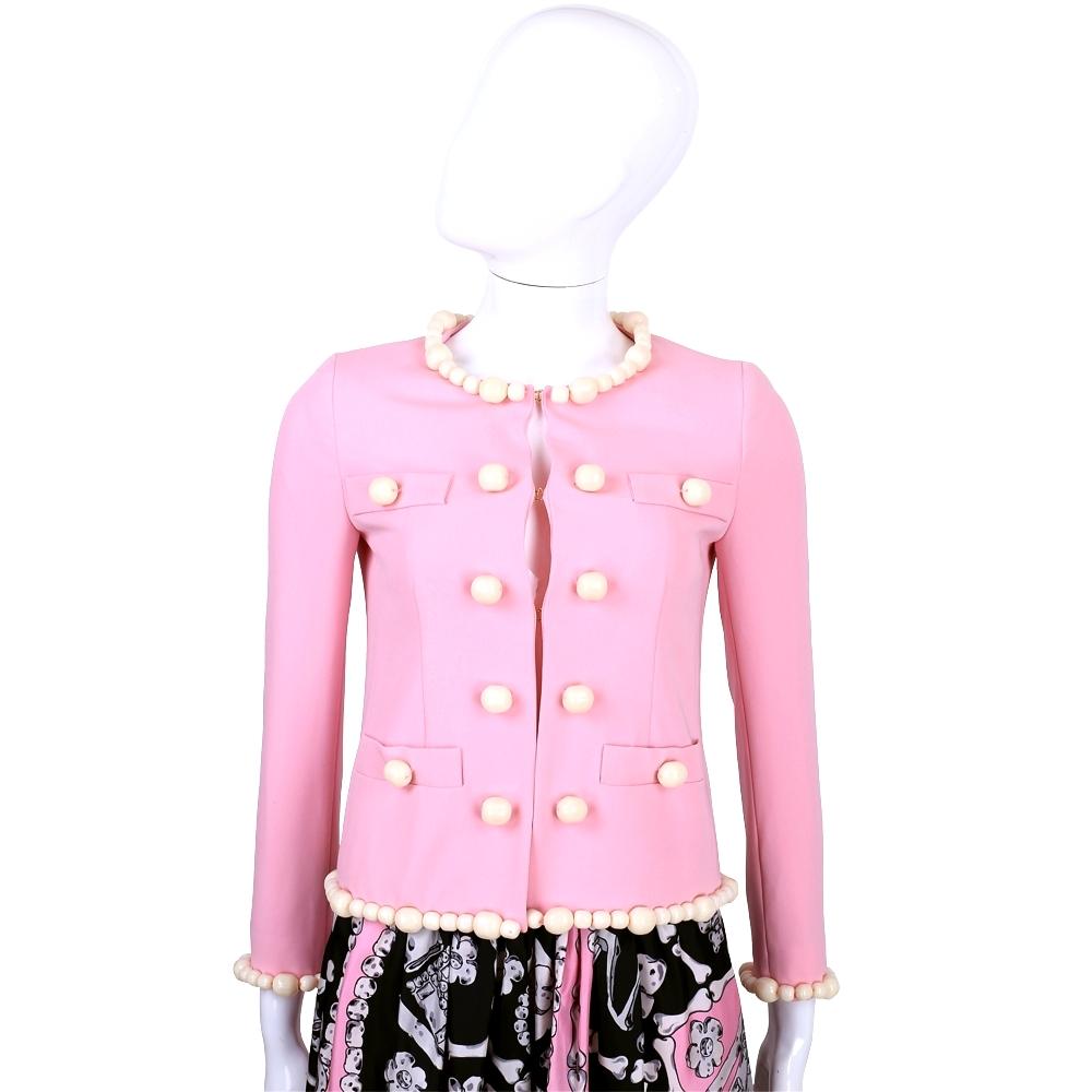 MOSCHINO 粉色圓型骨頭造型裝飾外套