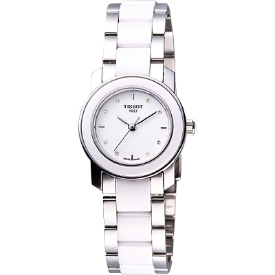 TISSOT T-Cera 陶瓷系列真鑽腕錶-白/28mm