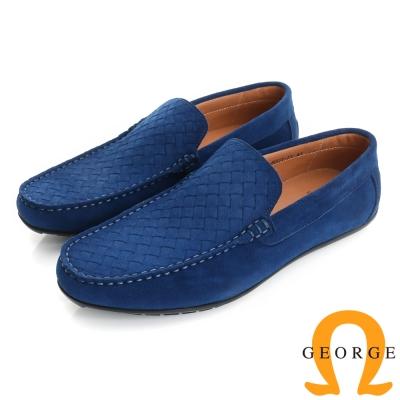 GEORGE 喬治-真皮編織樂福鞋休閒鞋(男)-藍色