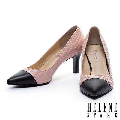 高跟鞋-HELENE-SPARK-典雅三角壓紋拼接羊皮尖頭高跟鞋-粉