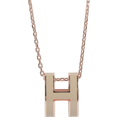 HERMES H POP款LOGO圓弧型項鍊(玫瑰金/灰白)