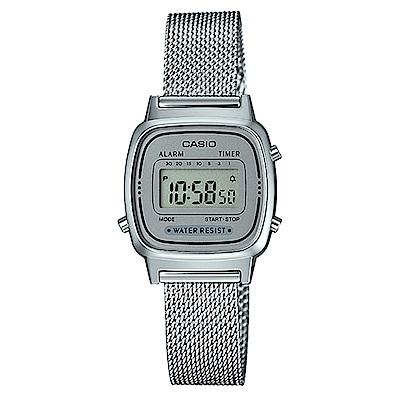 CASIO 小巧復古風米蘭時尚風格數位錶(LA-670WEM-7)-銀/30.3mm