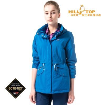 【hilltop山頂鳥】女款GoreTex抗UV防水透氣外套H22FS8深水藍