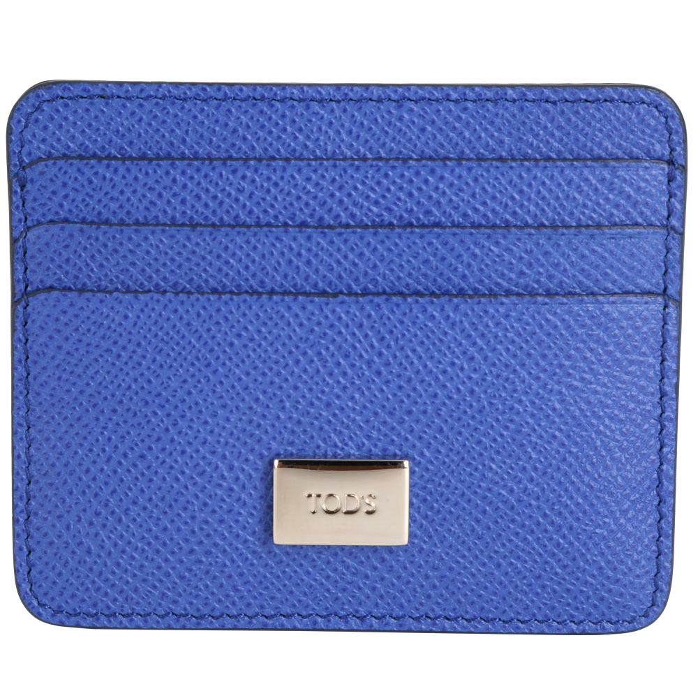 TOD'S 金屬牌飾萬用卡片夾(藍色)