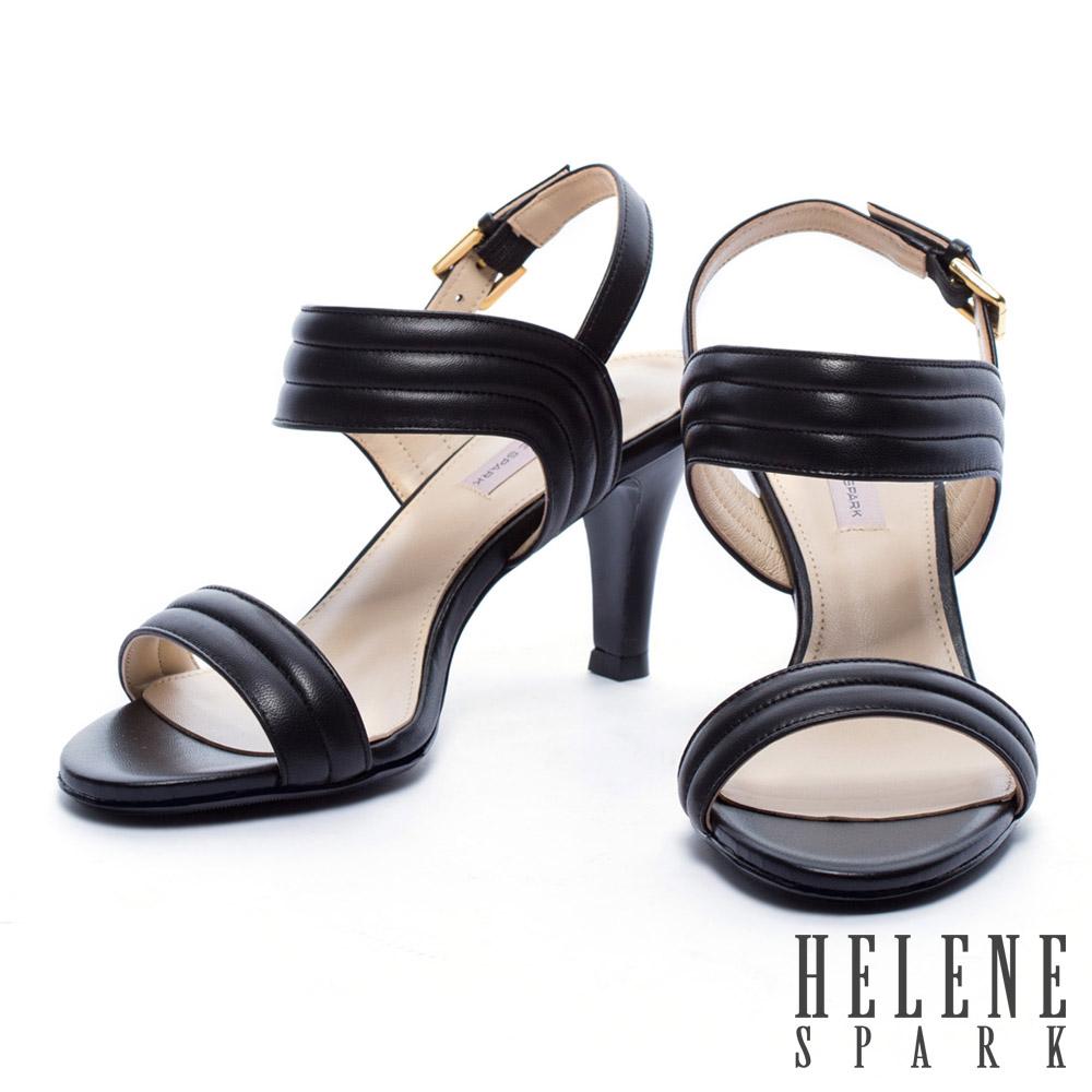 涼鞋 HELENE SPARK 知性風一字羊皮高跟涼鞋-黑