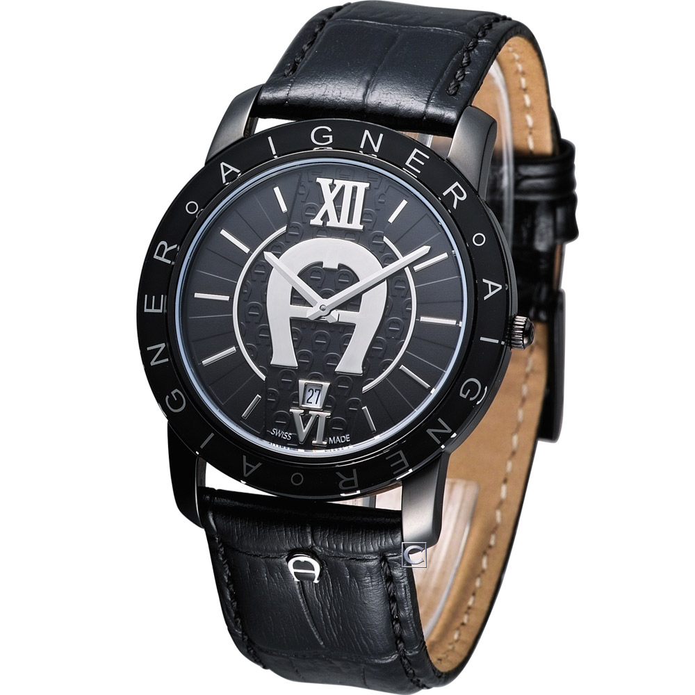 AIGNER 爵士魅力經典時尚腕錶-黑/40mm
