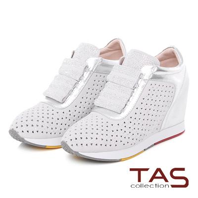 TAS 三角沖孔燙彩鑽內增高休閒鞋-閃耀白