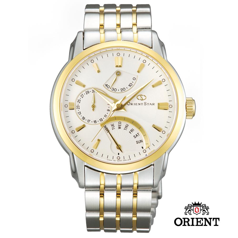 ORIENT STAR 東方之星 星期逆跳機械錶-白x雙色版/39.5mm