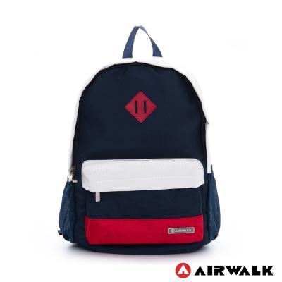 AIRWALK-法式色調-多功能袋休閒後背包-白紅藍