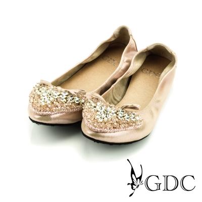 GDC-蝴蝶結心形雙色水鑽裝飾真皮平底娃娃鞋-粉色