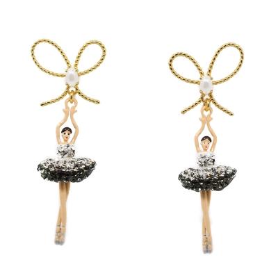 Les Nereides 優雅芭蕾舞女孩系列 優雅蝴蝶結透亮銀色水鑽女孩耳環