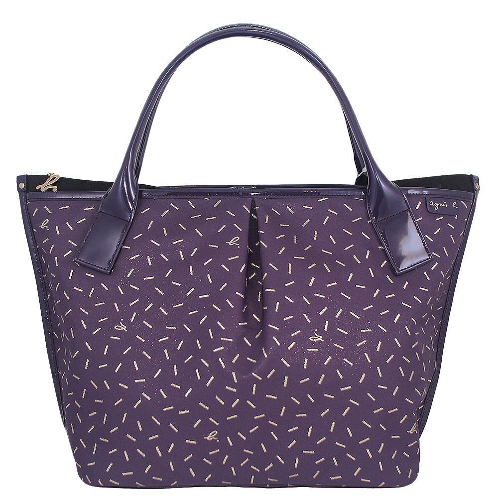 agnes b. 紫色拉鍊金絲條紋水餃包(大)