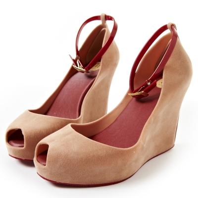 Melissa-復古厚底絨毛魚口鞋-粉膚
