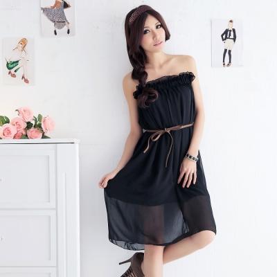 中大尺碼 2way素色荷葉鬆緊腰圍雪紡長裙-La Belleza