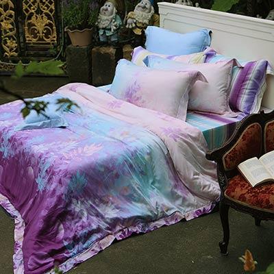 義大利La Belle 璀璨晶艷 加大天絲八件式兩用被床罩組