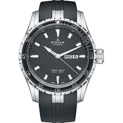 EDOX Gand Ocean 極速帆船自動星期日曆錶-黑/45mm