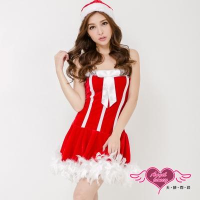 聖誕 毛毛滾邊平口洋裝耶誕服 角色服(紅F) AngelHoney天使霓裳