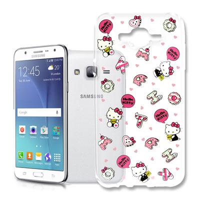 Hello Kitty 三星 Galaxy J7 浮雕彩繪透明軟殼(繽紛點心)
