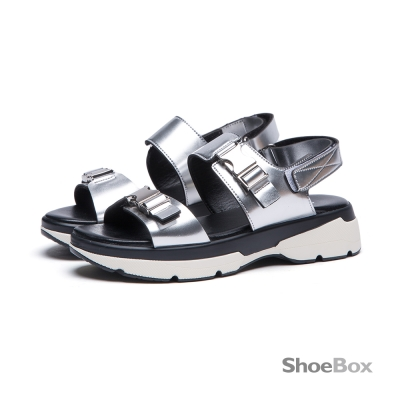 鞋櫃ShoeBox-涼鞋-金屬色釦帶裝飾一字厚底涼鞋1116303022-銀