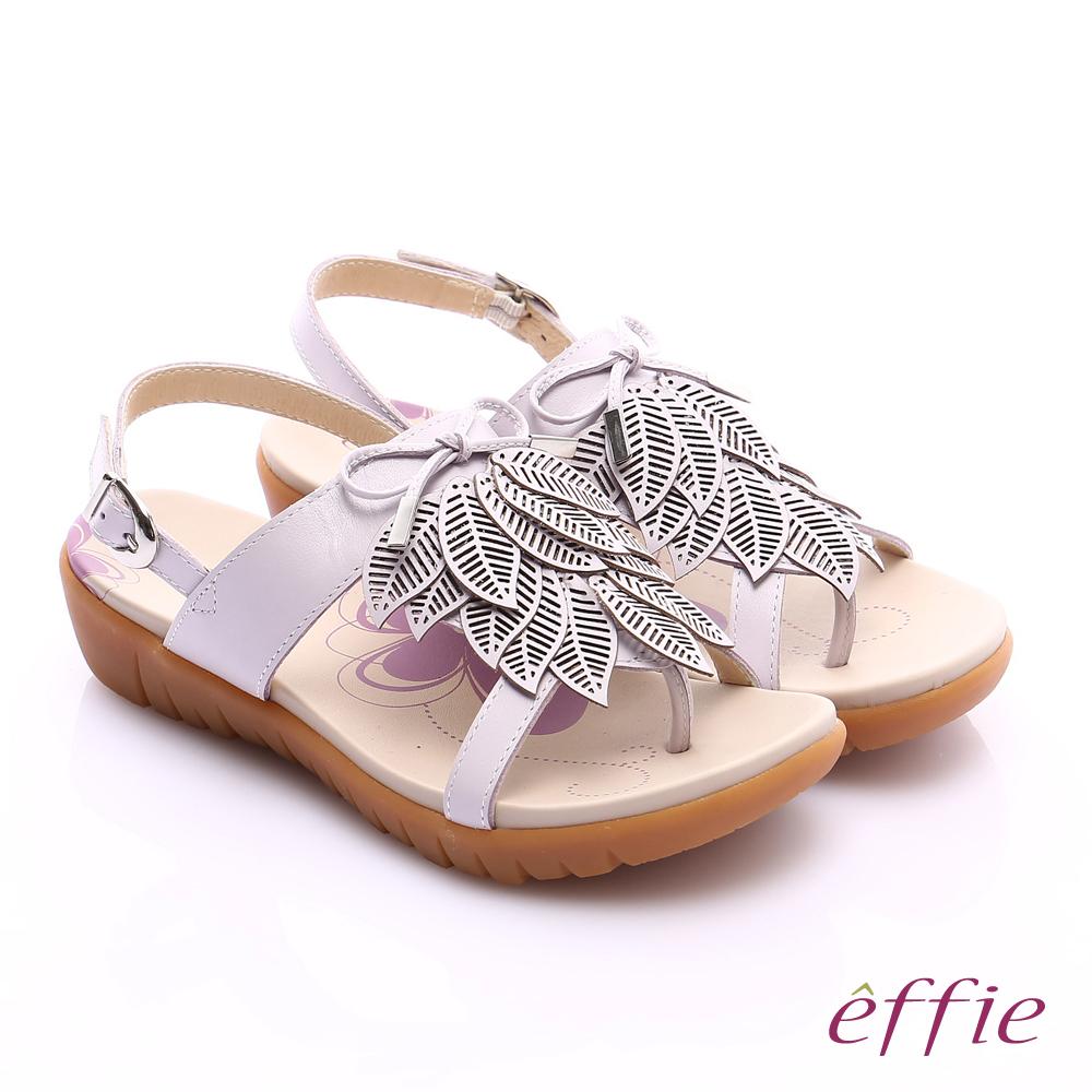 effie 輕量樂活 真皮雷射雕花葉片寬楦涼鞋 紫