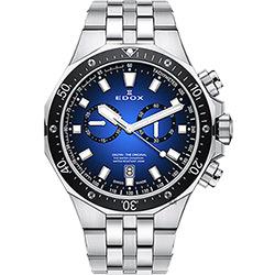 EDOX Delfin 水上冠軍專業200米防水計時碼錶-藍x黑錶圈/43mm