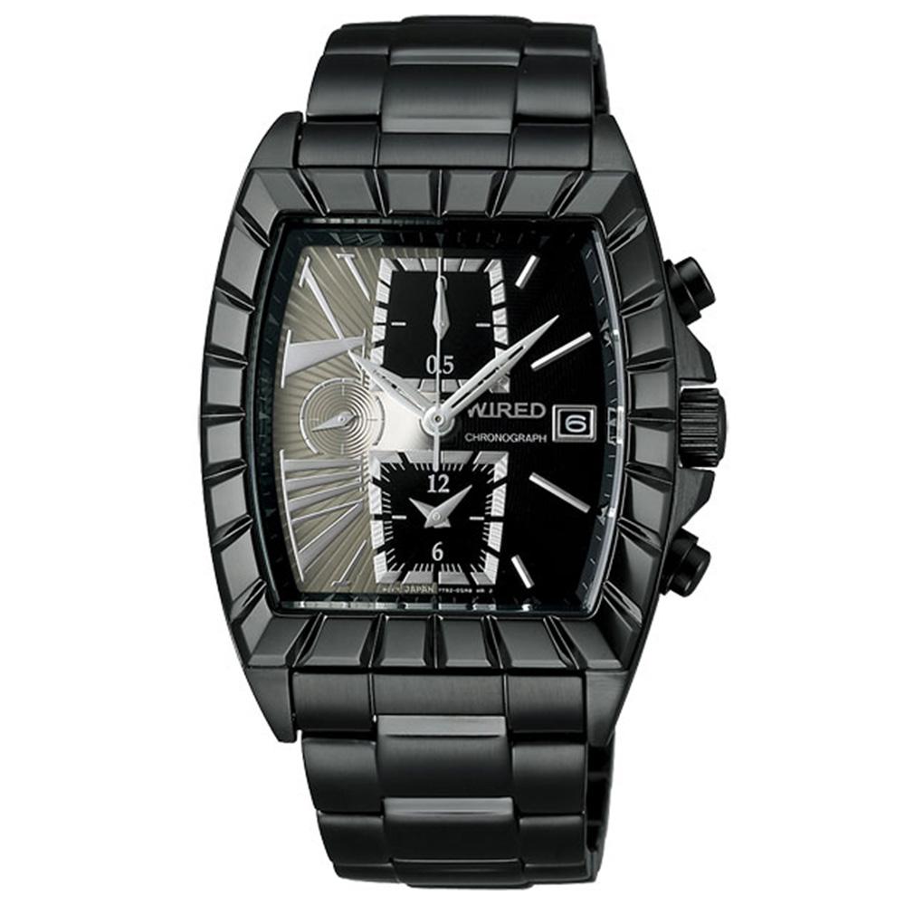 WIRED 雙面時尚計時腕錶(AGAV069)-灰x黑/36x38mm