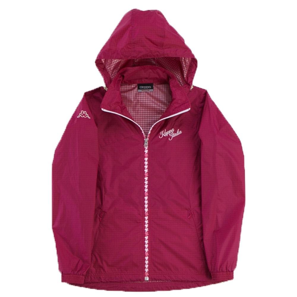 KAPPA義大利 女吸濕排汗速乾蓄熱保溫單層風衣(可拆帽) 櫻桃紅
