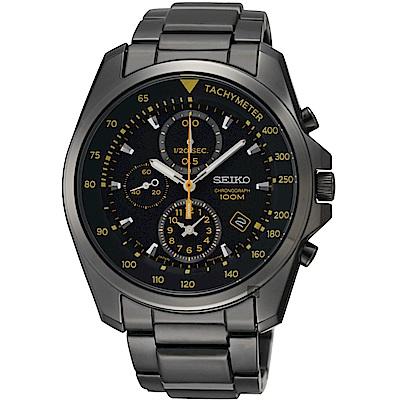 SEIKO 特務保鏢計時腕錶(SNDD65P1)-IP黑x黃時標/42mm