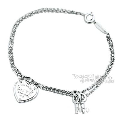Tiffany&Co. LOVE刻字愛心鎖鑰匙925純銀雙鍊手鍊