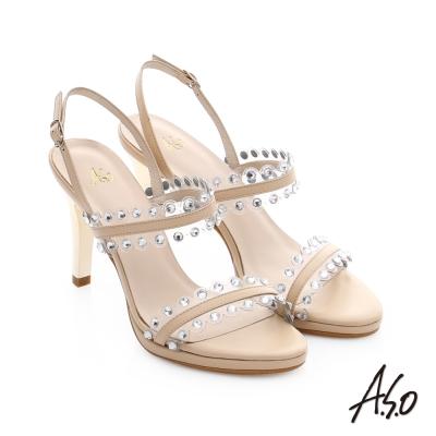A.S.O 星光注目 璀璨水鑽飾釦高跟涼鞋 米色