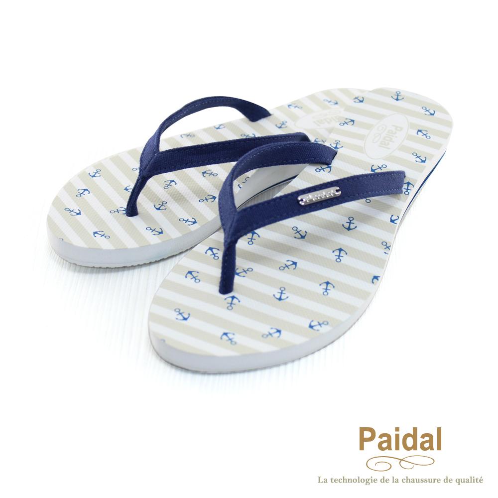 Paidal 海洋風小船錨帆布人字拖海灘拖鞋-深藍