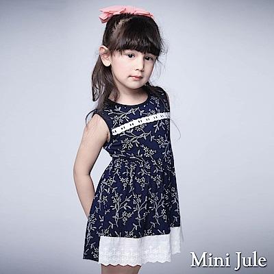 Mini Jule 童裝-洋裝 小白花拼接布蕾絲綁帶無袖洋裝(寶藍)