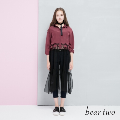 beartwo 下擺鏤空雕花短版襯衫(二色)