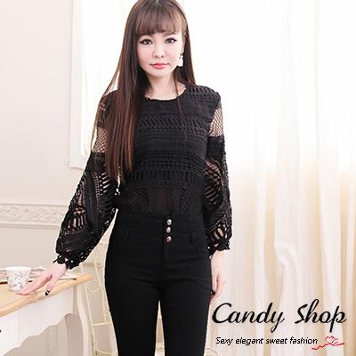 Candy小舖-春季小碎花蕾絲洞洞設計透膚款七分袖短版-黑色