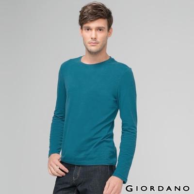 GIORDANO-男裝素色純棉圓領長袖T恤-06-摩洛哥藍色
