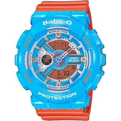CASIO 卡西歐 Baby-G 熱帶海洋雙顯錶-藍x橘/46mm