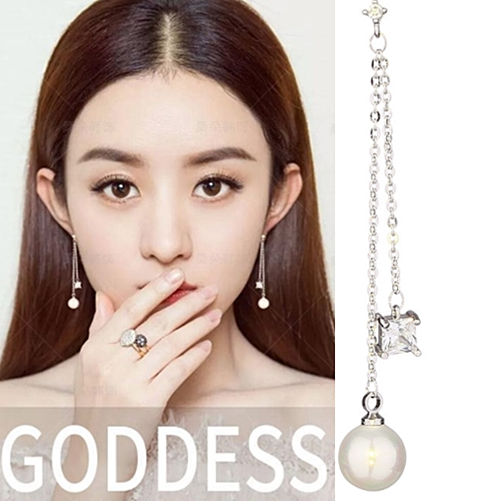梨花HaNA韓國925銀針方晶細緻點鑽珍珠長耳環