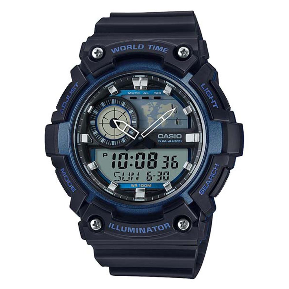 CASIO 世界地圖時間設計雙顯運動錶(AEQ-200W-2A)-黑X藍框51.4mm