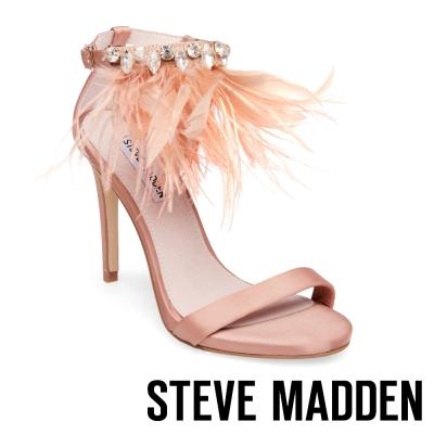 STEVE MADDEN-SAVANNA 一字踝帶羽毛綴飾高跟涼鞋-粉色