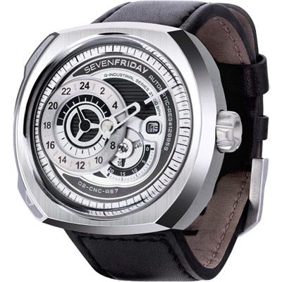 SEVENFRIDAY Q1 日期顯示自動上鍊機械錶-銀/44*50mm