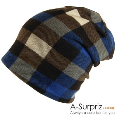 A-Surpriz 時尚潮人格紋毛帽(藍)