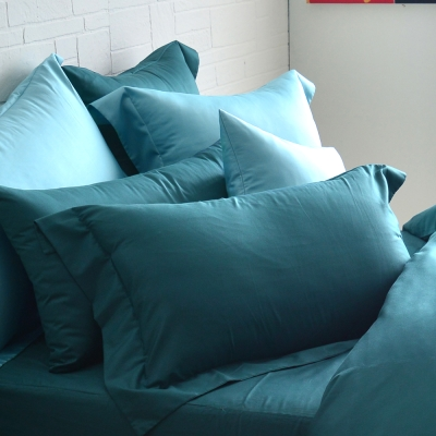 Cozy inn 簡單純色-孔雀藍-200織精梳棉枕頭套-2入