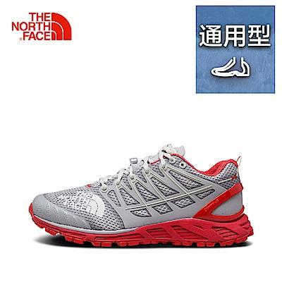The North Face北面女款灰紅色吸濕排汗跑步鞋