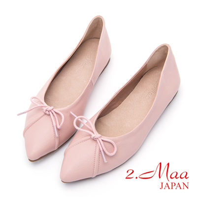 2.Maa-甜美氣質蝴蝶結尖頭平底包鞋-粉